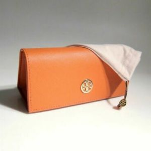 TORY BURCH OFFICIAL LEATHER SUNGLASS CASE + POUCH